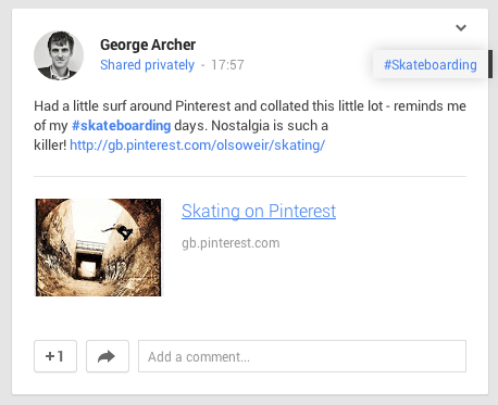 What the Google+ post will look like on the page